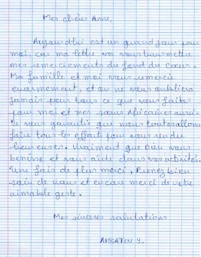 2013 Thank you letter from Adamaoua Region