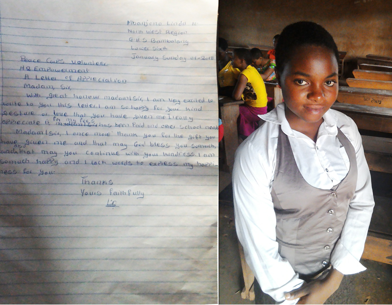 Letter and picture of Linda Ngwatang Mbanjono