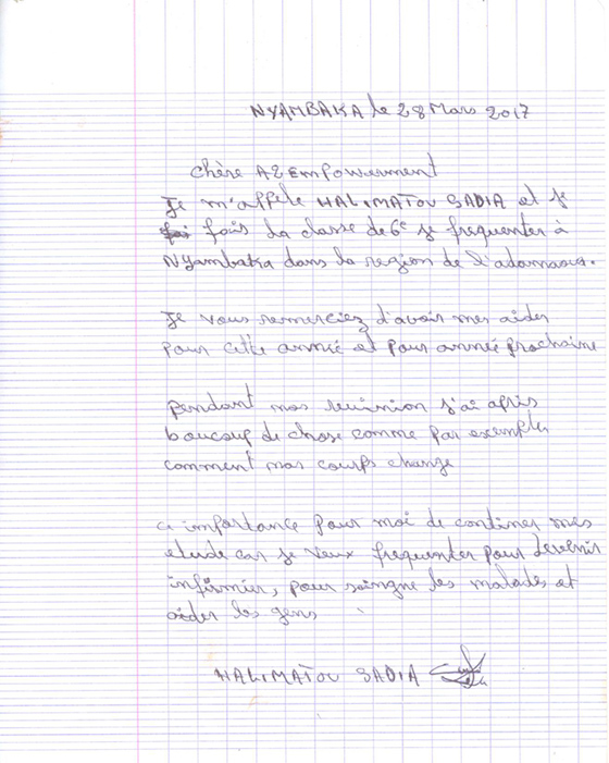 Letter from Halimatou Sadia